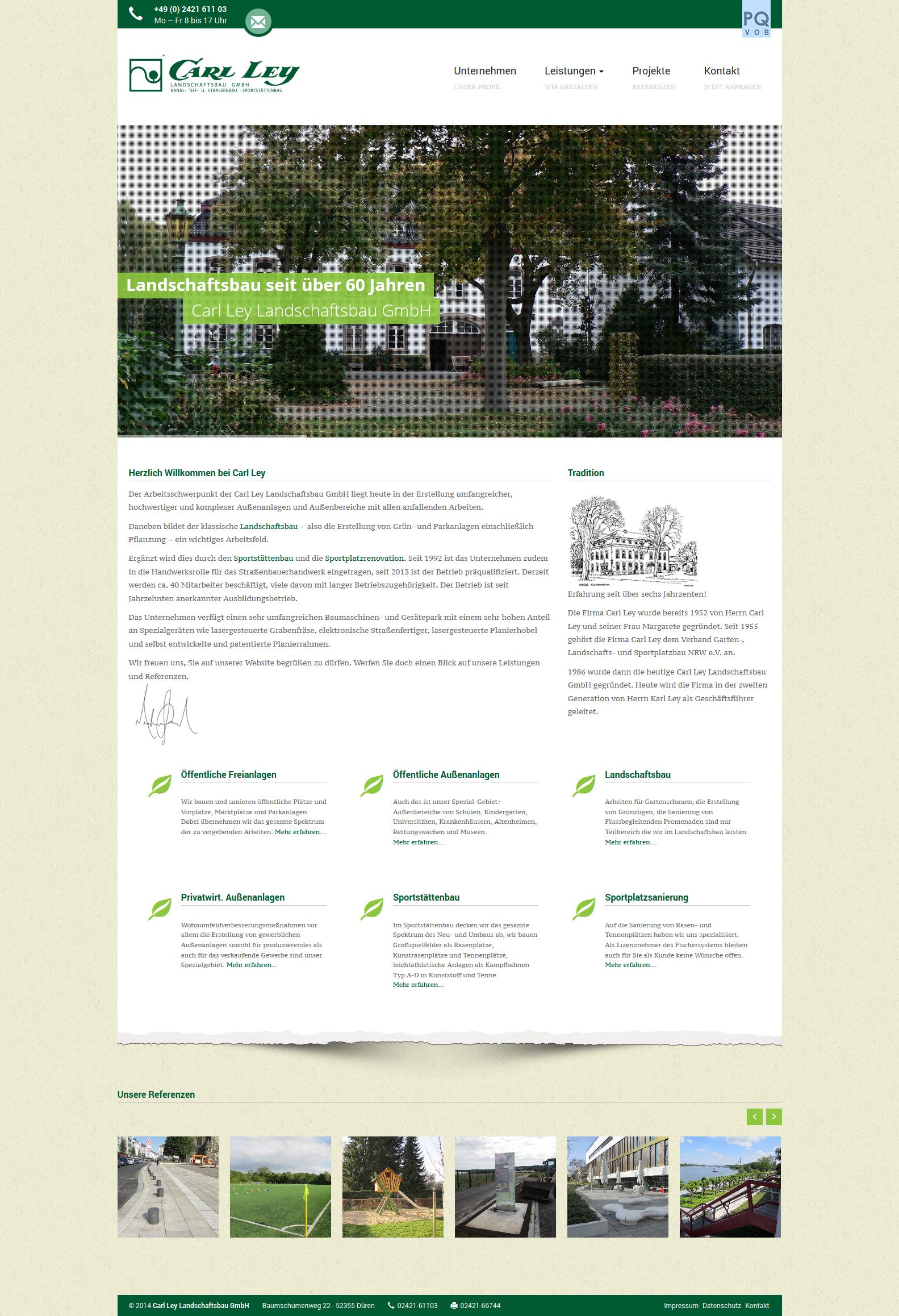 Responsive Webdesign für Carl Ley Landschaftsbau