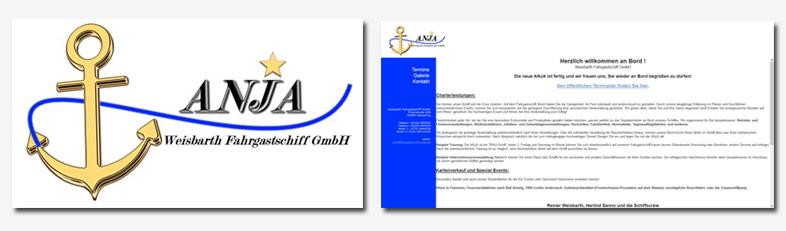 Abbildung altes Logo und Screenshot alte Website