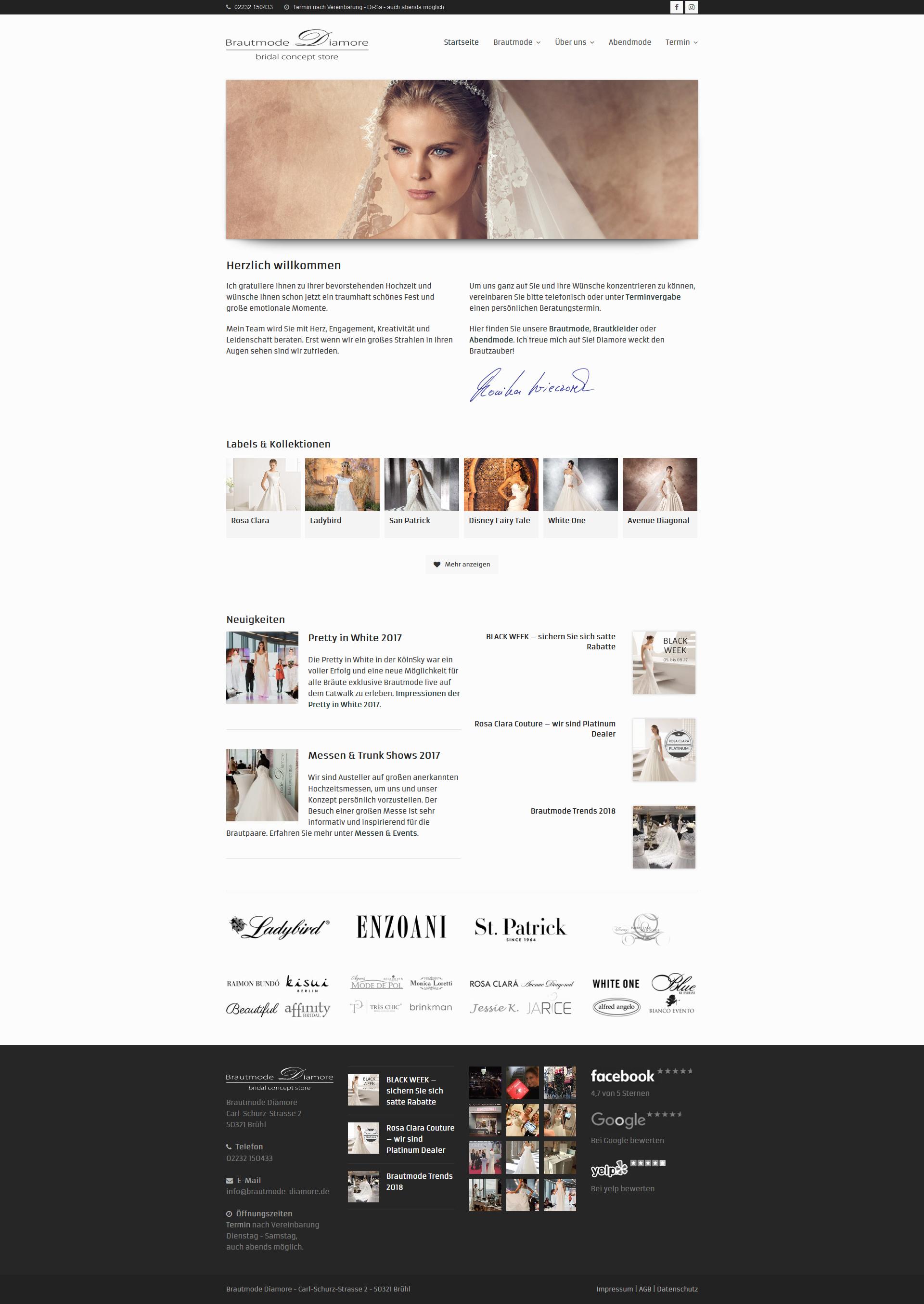 Screenshot Website brautmode-diamore.de